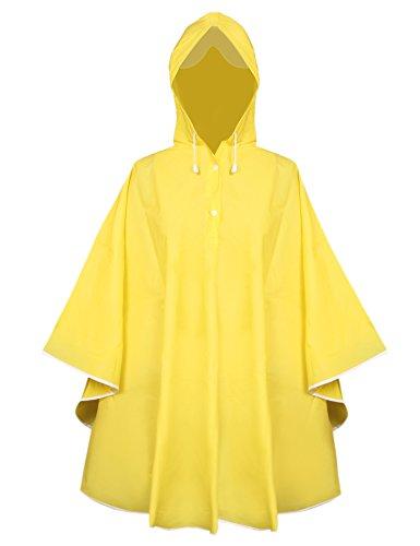 Aibrou Damen Transparent Regenponcho Regenjacke aus Eva wasserdichte Trenchcoat Parka Regenkleidung Regencape Gelb