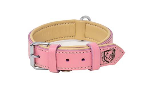 Riparo K-9 Hundehalsband, gepolstert, echtes Leder, verstellbar, strapazierfähig (L: 3,8CM Breit für 45,7CM - 53,3CM Hals, Rosa)