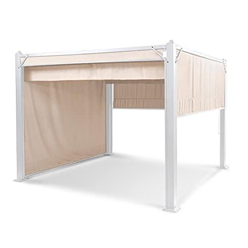 blumfeldt Pantheon Cortina Pavilion, Tube carré en Aluminium, Poteau d'angle 10x10 cm 1 mm d'épaisseur, 4 parois latérales, Toit avec revêtement Hydrofuge, Surface Couverte: 3x3 m,Beige