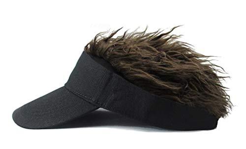 Mens Creative Novelty Sun Visor Cap with Fake Hair (Black-y)
