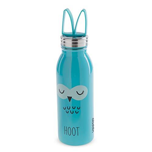 Aladdin Zoo Vakuum-Isolierte Thermoflasche, 18/8 Edelstahl, 0,43 Liter, Motiv Eule, Auslaufsicher, Silikon-Trageschlaufe, für Kinder und Erwachsene, Isolierflasche