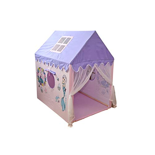 CSQ Girl's Play Tent, Indoor Children's Space - Solid Wood Pole - Princess Tent House with Cartoon Pattern Girly Fairy Tale Tent Children's play house (Size : 95 * 125 * 140CM)