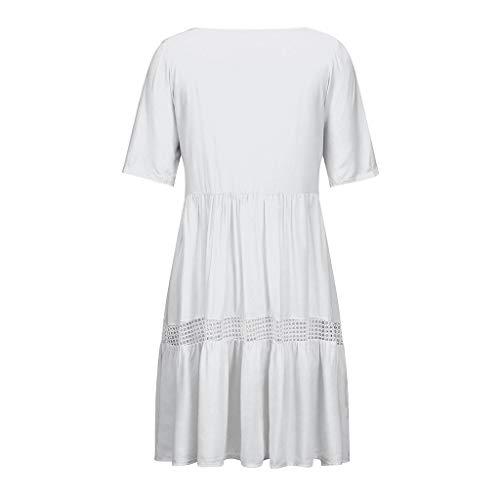 VEMOW Faldas Mujer Vestido Corto Bohemio con Cuello en V de Las Mujeres Vestido de Verano Informal de Playa Hueco Hueco Corto(Blanco,XL)