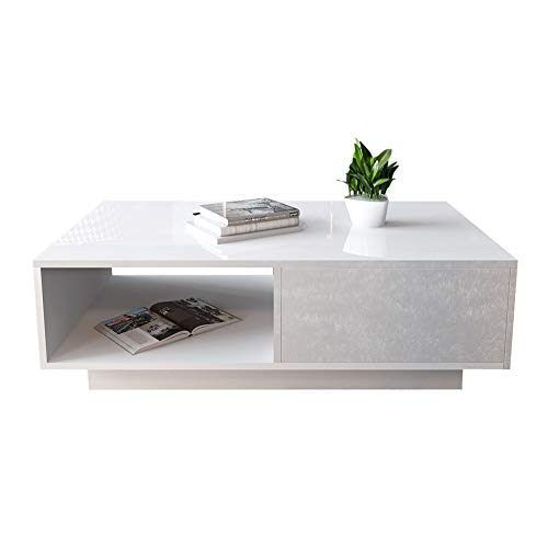 AYNEFY Coffee Table Modern Coffee Table Rectangular High Gloss Living Room Table with Storage Compartment and Drawer Sofa Table for Living Room Bedroom Table 95 x 55 x 31 cm (White)