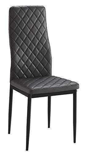 Studio decor marmer set met 6 stoelen. PU-leer, zwart, kunstleer en metaal, grijs, één maat.