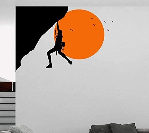 Pegatinas De Pared Climber In The Sunset Design Wall Art Sticker Decal, Entusiasta De Las Actividades Al Aire Libre, Escalada, Actividades Al Aire Libre Deporte Hombre Fuerte 42X63Cm
