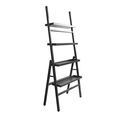 JCNFA Planken Ladder Boekenkast 4-tier Boekenkast, Plant Rack Tuin Opslagrack, Badkamer Woonkamer Opslagrappen, Metaal Koolstofstaal Frame, Zwart