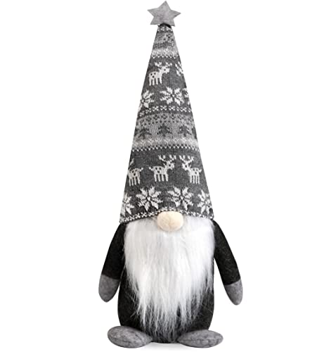 HBlife Holiday Gnomes Handmade Swedish Tomte, Christmas Decorations Santa Elf Plush Doll Ornaments - 19 Inches Grey Reindeer