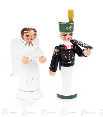 Engel & Bergmann Miniatur Engel und Bergmann Höhe ca 7 cm NEU Erzgebirge Weihnachtsfigur Holzfigur