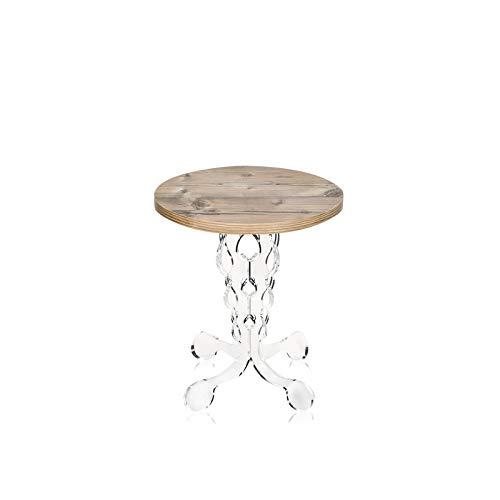 iPLEX - Tavolino da caffè Stile Arabesco in plexiglass Trasparente con ripiano in Legno Rovere Naturale Opaco Dim. 43x36x36 cm