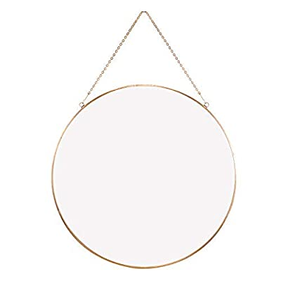 """Dahey Wall Hanging Mirror Decor Gold Round Mirror with Hanging Chain for Home Bathroom Bedroom Living Room,11.75""""X11.75"""""""