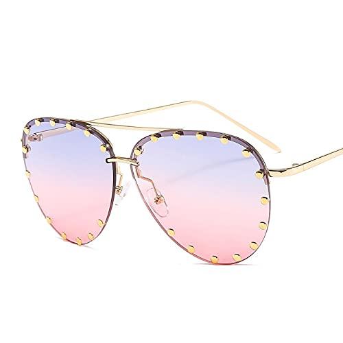 HAOMAO Vintage personalidad metal remache espejo gradiente piloto gafas de sol para mujeres y hombres de gran tamaño Uv400 gafas sombras azul rosa