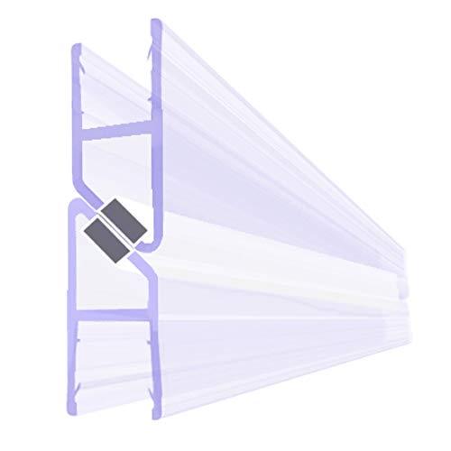 BIJON Magnet-Duschdichtung SET, Duschtürdichtung mit weißen Magneten, Dichtung Dusche Glastür für 180 Grad, 200cm, Glasstärke Duschdichtung 5mm - 6mm