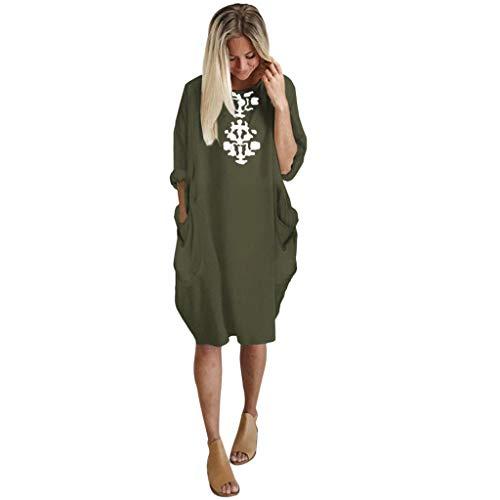 FRAUIT Sommerkleid Damen Loses Shirt Kleid Knielang Übergröße Einfarbig Kleid mit Taschenmuster Tunika Oberteile Kleider Casual V-Ausschnitt Dünne Langarm Loose Shirt Longshirt