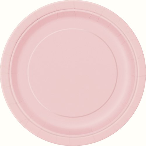 Pack of 16 x Pale Pink Round Paper Plates (9'/23cm)