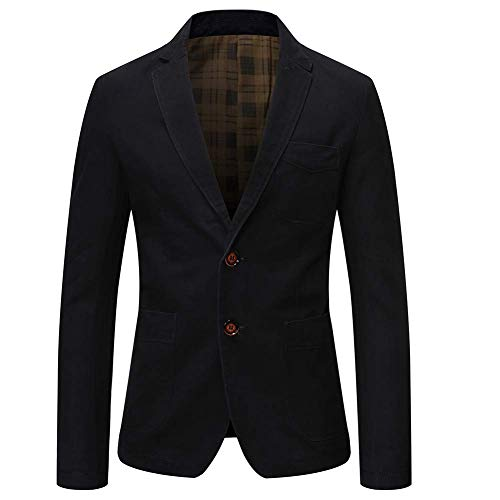 Allthemen Mens Casual Blazer Slim Fit Long Sleeve Suit Jacket Washed Cotton 2-Button Casual Suits Blazer Jackets Black