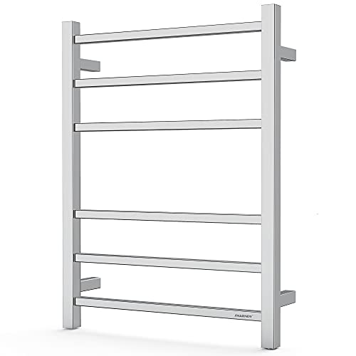 SHARNDY Towel Warmer Polished Chrome for Bathroom Wall Mounted Bath Towel Heater Plug-in Electric Heated Towel Rack Stainless Steel Square 6 Bars Drying Rack ETW13C68W 26.77x20.47x4.13 inches