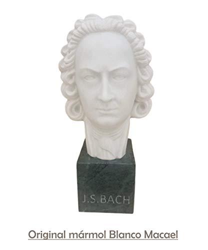 Dreamstone Handgeschnitzte Bach Büste aus Naturstein Marmor Weiß (38 x 19 x 19 cm)