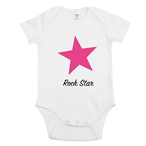 Bio Baby-Body Kleiner Rockstar mit Sternchen - Unisex (3-6, Pink)