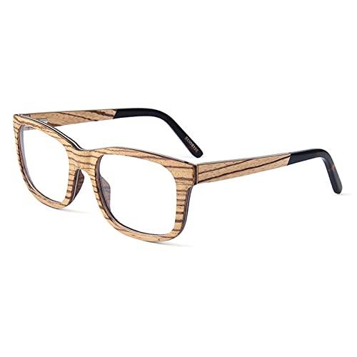 YuanRuiWMS Marco de Gafas ópticas de Madera de monopatín, Marco de Gafas de miopía Intercambiable, vidrios de Lente Plana de Marco Cuadrado Retro (Color : Ebony Wood)