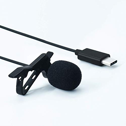 Rednix USB Type C Microphone Mic Audio Mini Lavalier Clip on Condenser Microphone Mic with Type C Plug for Android Phones