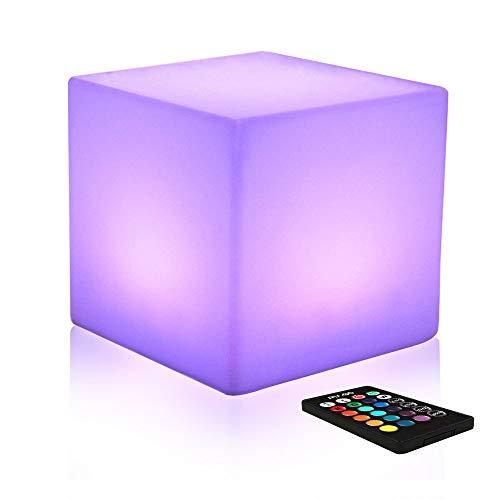 Mr.Go 10-inch Farbwechsel Würfel-Licht LED Stimmungslicht mit Fernbedienung, Dimmbar Nachtlicht Wiederaufladbare Batteriebetriebene Tischlampe für Schlafzimmer