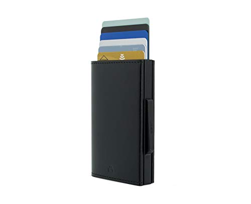 Ögon - Cascade Slim Wallet, Automatic Cardholder, Pop-Up cards, RFID Blocking, 8 Cards and banknotes (Black Leather Black Aluminium)