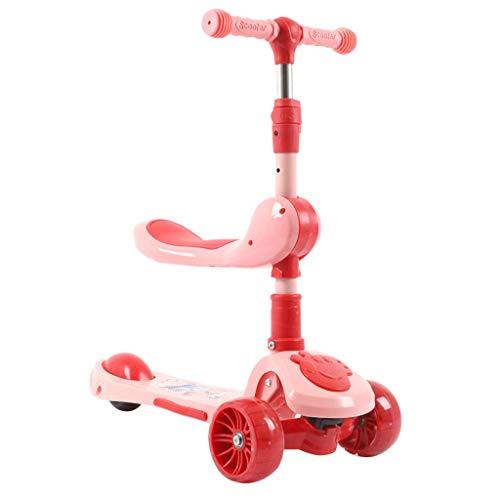 Scooter Flash Wheel Scooters para niños Scooter para niños - Deluxe Aluminio 3 Wheel Glider w/Kick N Go, Lean 2 Gire Ruedas, Paso 4 Freno Patinetes (Color : Pink)