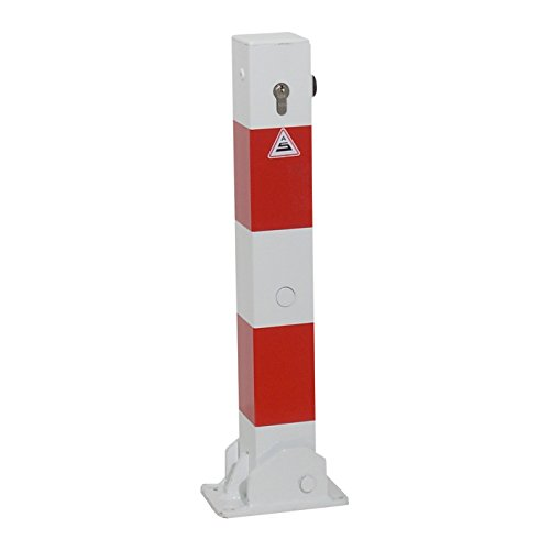 Absperrpfosten 70 x 70 mm umlegbar mit Bodenplatte 100 x 150 mm für Dübelbefestigung, mit Profilzylinderschloss (inkl. 3 Schlüssel)