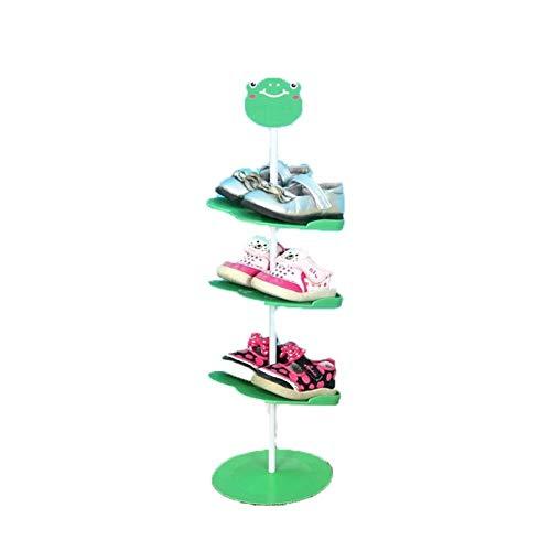 Zfggd Zapatero infantil, Sala de estar Cuarto de puerta mini estante del zapato 4 capas de dibujos animados patrón tridimensional montado en el suelo zapatero de almacenamiento portátil zapatero ahorr