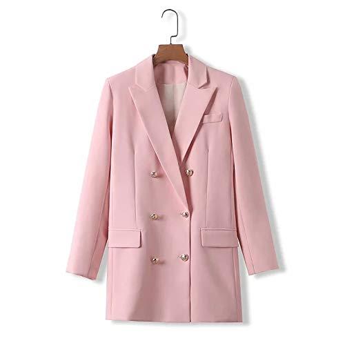 MJS Elgeant Women Pink Long Blazer Chaquetas Fahsion Ladies Vintage Vintage Double Breasted Jacket Trajes Casual Femenino Blazers Chicas Chic (Color : Rosado, Talla : Small)