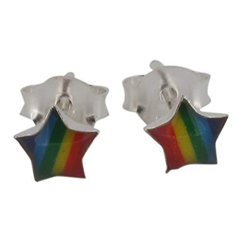 Touch Jewellery 925sterling Silver arcobaleno orecchini a lobo a forma di stella