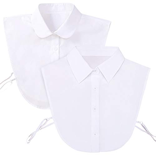 Shinywear Detachable Pointed Collar Classic Fake Doll Shirt Half Blouse for Women Office Lady Work Dickey Tops (2pcs Doll + Pointed Collar)