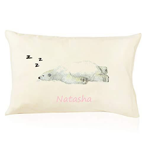 DorDor & GorGor Personalized Toddler Pillow with Watercolor Pillowcase, Ultra Soft Organic Cotton, Giftable Box, 13 X 18 inches, Polar Bear