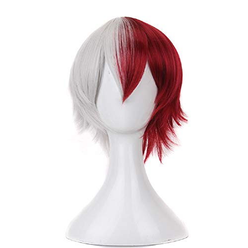 11.8' Ombre Short Curly Boys Wigs with Bang Half Red and Silver White One Free Wig Cap for Women Men Girls Costume Halloween (Red White)
