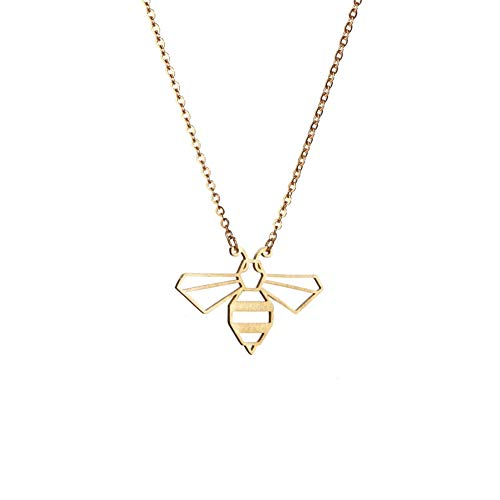 La Menagerie Abeja Oro, Joya de Origami & Collar geométrico Oro Mujer - Collar bañado en Oro 18 Quilates con diseño Animal Abeja - Joyería para niñas y Mujeres