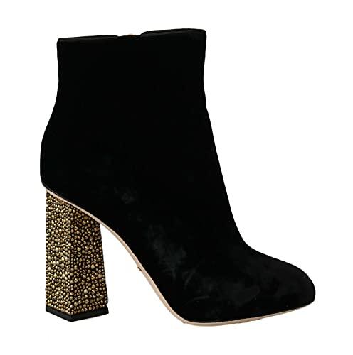 Dolce & Gabbana Black Velvet Crystal Square Heels Shoes (numeric_9)