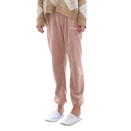 BAULMD Pyjamahosen Damen Velvet, Damen Bequeme Hose mit Samt Flauschige Elegant Hose Hausanzug, Herbst Winter Schlafhose fur Lang Sleep Hose Haushaltshose (Rosa)