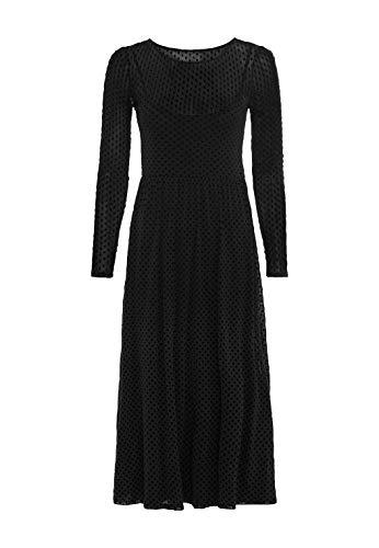 HALLHUBER Mesh-Kleid mit Tupfen weit schwingender Saum schwarz, L