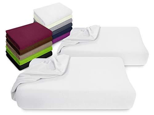 npluseins 2er Pack Spannbezüge Kissenbezüge für Gesundheitskissen 1450.2049, Spannbezug für Gesundheitskissen, weiß