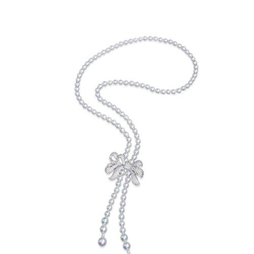 Jade Angel Damen-Halskette mit Anhänger, 8 mm, Muschelkernperle und Quaste, mit Zirkonia, Schleifen-Anhänger