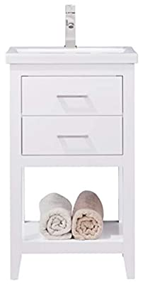 """LUCA Kitchen & Bath LC20FWP Dublin 20"""" Bathroom Vanity Set in White with Integrated Porcelain Top"""