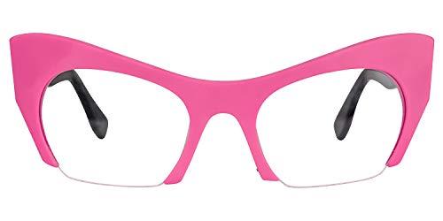 Zeelool Elegante acetato semi-rimless Cat Eye Gafas para las mujeres con lentes transparentes sin receta Kyle FP0099