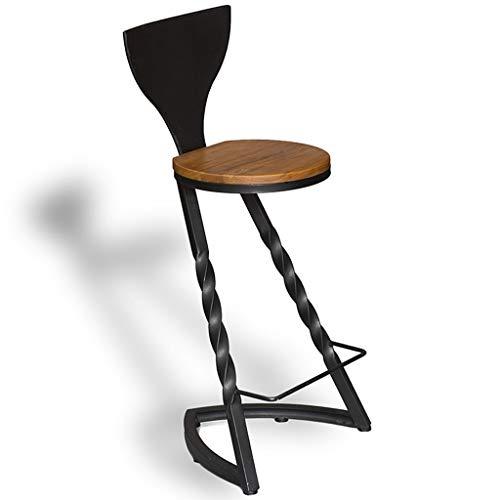 ☀ JBD Iron Art Rétro Tabouret De Bar De Style Industriel Creative Chaise Haute À Haut Siège Personnalité Design Café Comptoir en Bois Massif Siège