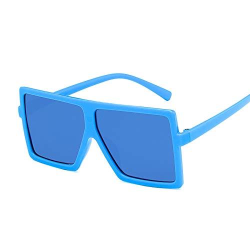NJJX Gafas De Sol De Gran Tamaño Para Niños Gafas De Sol Cuadradas De Moda Niños Niñas Gafas De Montura Grande Al Aire Libre Espejo Degradado Azul