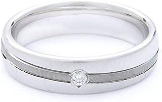 Breuning 18K White/Black Shiny & Brushed Finish 0.03ct Round cut Diamond Wedding Ring [BR6321]