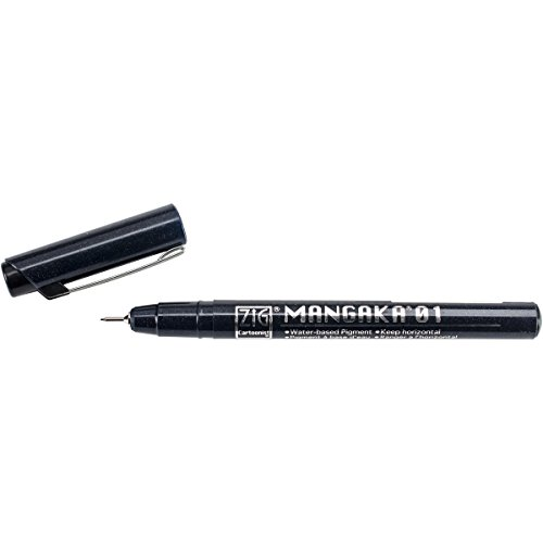 Zig 0.1mm Cartoonist Mangaka Nib Marker, Black, Pack of 12