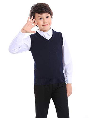 TopTie Jersey Sin Mangas de Punto para Niño, Chaleco de Algodón con Cuello en V para Invierno, Color Sólido, Color Azul Marino - 12 Año