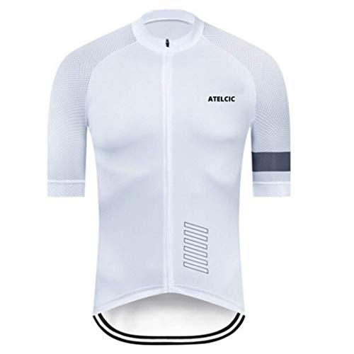 Atelcic Maillot para Ciclismo MTB Spinning Ciclismo de Carretera, Traje de Ciclismo Manga Corta Verano para Hombre y Mujer (Blanco, M)