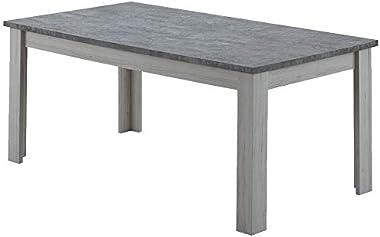 SofaMobili Table 190 cm Couleur chêne Clair et Gris Petunia